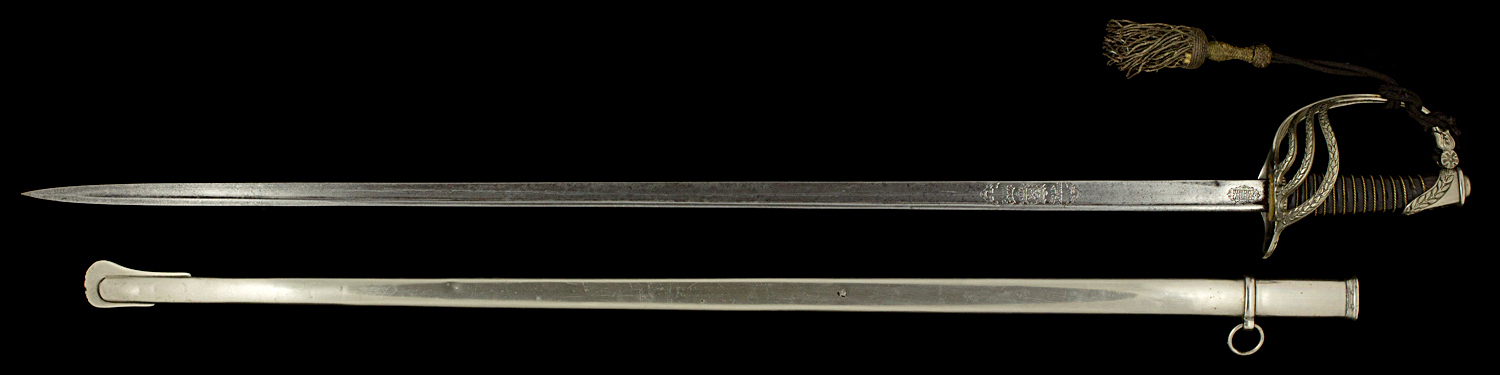 S000034_Belgian_Officer_Sword_LII_Full_Obverse_Next_to_Scabbard
